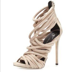 Giuseppe Zanotti strappy suede blush sandal.